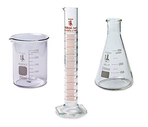 Science Measuring Set - 3 Pieces - 250ml Beaker 250ml Flask and 100ml Cylinder - Karter Scientific 214Z2