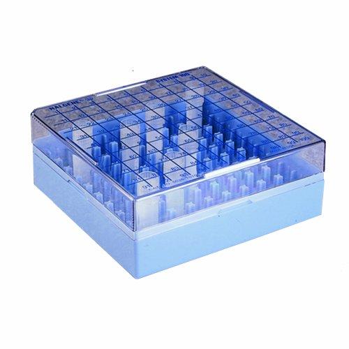 Nalgene 5026-0909 Polycarbonate CryoBox Vial Rack 133mm Length x 133mm Width x 52mm Height 9 x 9 Array 81 Place Pack of 4