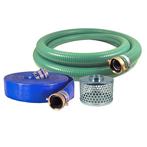 JGB Enterprises Eagle Hose PVCAluminum WaterTrash Pump Hose Kit 3 Green Suction Hose Coupled M x F WS 3 Blue Discharge Hose Coupled M x F WS 29 Vacuum Rating 70 PSI Maximum Temperature 25 Length 3 ID