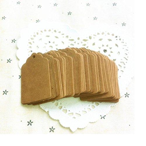 Hunulu 100pcs Round Edge Rectangle Blank Kraft Paper Hang Tags Wedding Party Favor Label Price Gift Card Black Brown