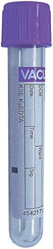 Greiner Bio-One VACUETTE Blood Collection Tubes K3 EDTA Polyethylene Terephthalate 13x75-3ml Lavender Cap 454217 Box of 50