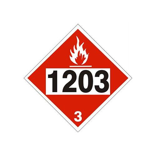 1203 Gasoline Gasohol Petrol Sign Rigid Vinyl Placard 10-34 x 10-34 Flammable Hazard Class 3 DOT HM-206 DOT-96749