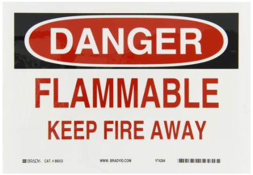 Brady 86033 Self Sticking Polyester Fire Sign 7 X 10 Legend Flammable Keep Fire Away