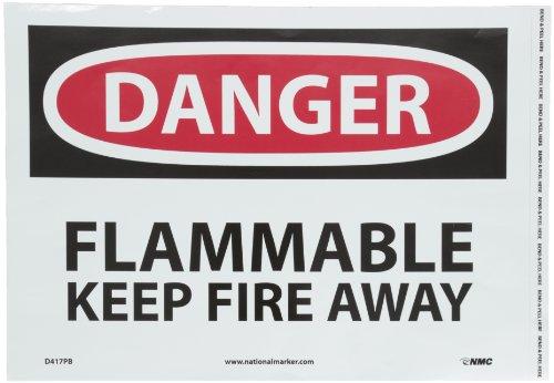 NMC D417PB OSHA Sign Legend DANGER - FLAMMABLE KEEP FIRE AWAY 14 Length x 10 Height Pressure Sensitive Vinyl BlackRed on White