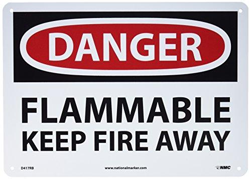NMC D417RB OSHA Sign Legend DANGER - FLAMMABLE KEEP FIRE AWAY 14 Length x 10 Height Rigid Plastic BlackRed on White