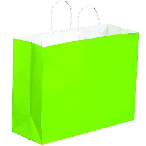 BOX USA BBGS108CG Tinted Paper Shopping Bags 16 x 6 x 12 Citrus Green Pack of 250