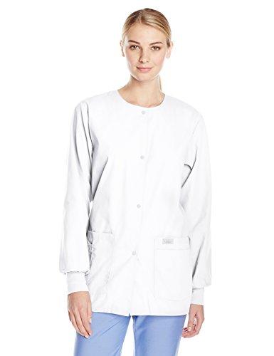 Landau Womens Premium Snap-Front 4-Pocket Crew Neck Warm-Up Scrub Jacket White X-Small