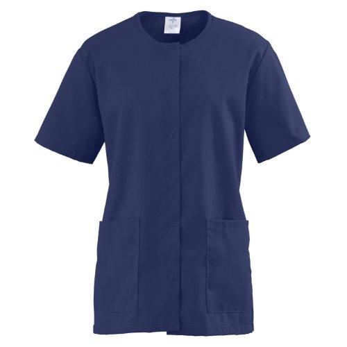 Medline ComfortEase Ladies Snap Front Scrub Tunic Large Midnight Blue