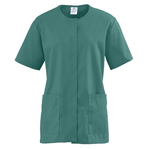 Medline ComfortEase Ladies Snap Front Scrub Tunic Small Evergreen