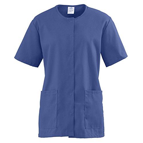 Medline ComfortEase Ladies Snap Front Scrub Tunic X-Large Mariner Blue
