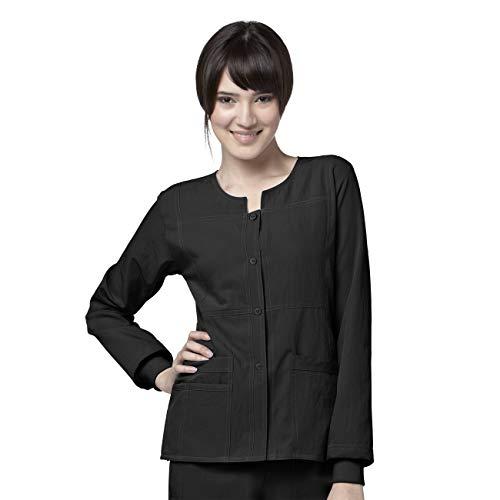 WonderWink 4-Stretch Womens 8114 Sporty Snap Front Scrub Jacket Black- 2X-Large