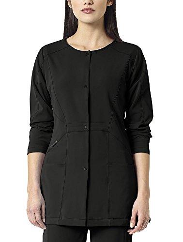 WonderWink Womens Hp Plus Size Snap Front Scrub Jacket Black 2X-Large