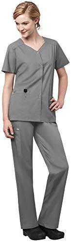 WonderWink WonderWork Womens Scrub Set Bundle- 200 Short Sleeve Snap Front Scrub Jacket 501 Straight Leg Cargo Scrub Pants MS Badge Reel Grey - XXXXX-LargeXXXXX-Large