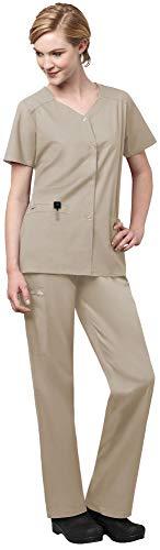 WonderWink WonderWork Womens Scrub Set Bundle- 200 Short Sleeve Snap Front Scrub Jacket 501 Straight Leg Cargo Scrub Pants MS Badge Reel Khaki - XX-LargeXXXL Petite