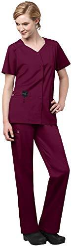 WonderWink WonderWork Womens Scrub Set Bundle- 200 Short Sleeve Snap Front Scrub Jacket 501 Straight Leg Cargo Scrub Pants MS Badge Reel Wine - XX-LargeXXL Tall