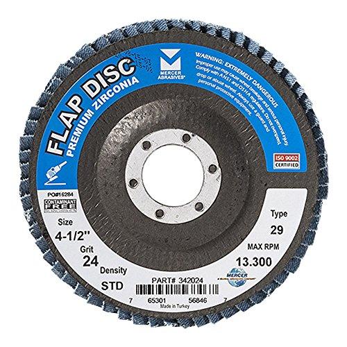 Mercer Industries 342024 Zirconia Flap Disc Type 29 4-12x 78 Grit 24 10 Pack