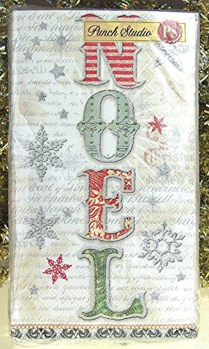 32 Ct Punch Studio 95869 Noel Vintage Script Guest Towels  Dinner Napkins Christmas Holiday