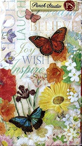 95688 Punch Studio Boutique 32 Ct Guest Towels  Dinner Napkins Jardin de Provence Inspiration Script Floral Butterfly