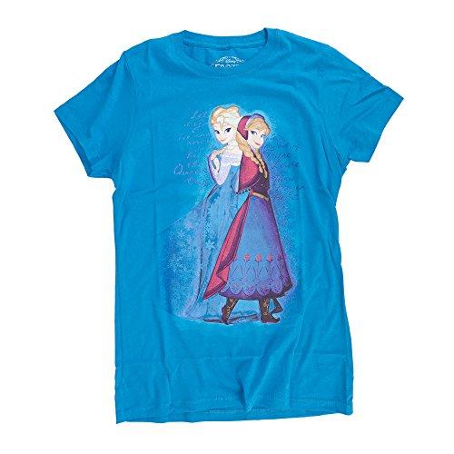 Disney Frozen Script Sisters Juniors Turquoise T-Shirt  XL
