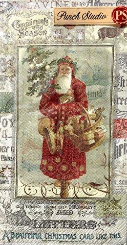 Punch Studio Guest Towels Buffet Paper Napkins Santa Script 13252 32 ct