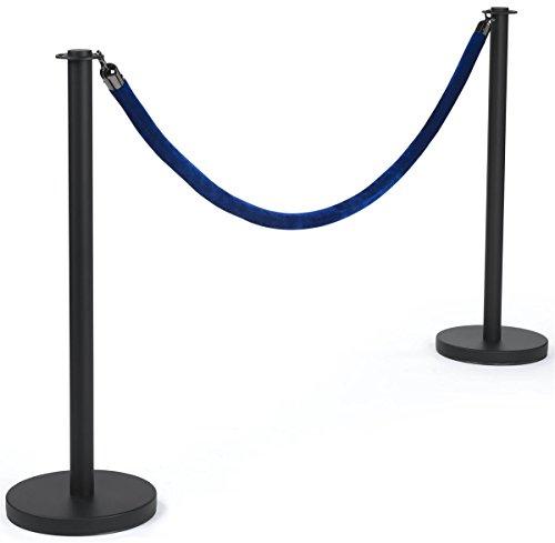 Displays2go Black Stanchions with Blue Velvet Rope Steel Build Velvet Material – Blue Belt Black Finish RPSTFBCBLU