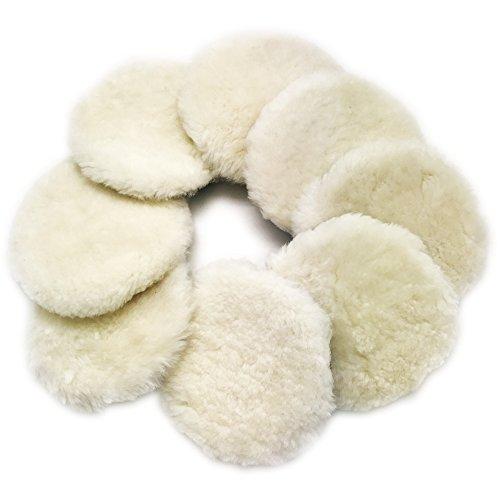Astron Top Lambs Wool Polishing Pad 6-Inch 8-Pack Hook Loop Compound Cutting Polishing for Random Orbital Sander WC6V8