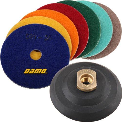 DAMO 4 Dry Diamond Polishing Pads Set of 7  Back Holder for MarbleGraniteConcrete CountertopFloor