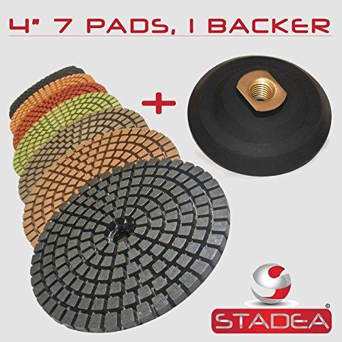 STADEA Premium Grade Wet 4 Diamond Polishing Pads Set  Rubber Backer For GRANITE MARBLE STONE
