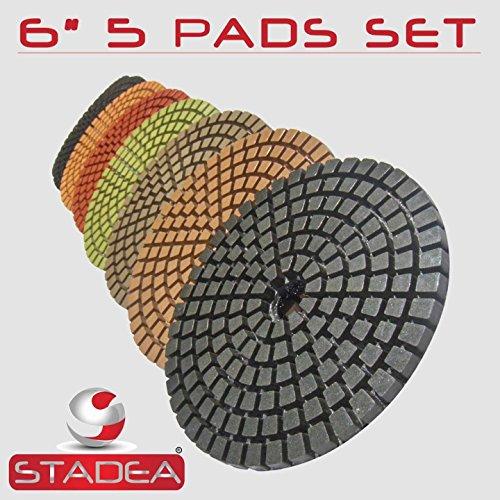 STADEA Premium Grade Wet 6 Diamond Polishing Pads Set For CONCRETE Polish