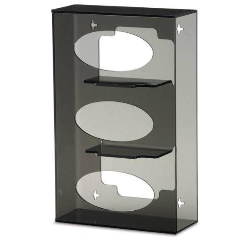 Triple Side-Loading Glove Box Dispenser Holder Dark Grey Acrylic