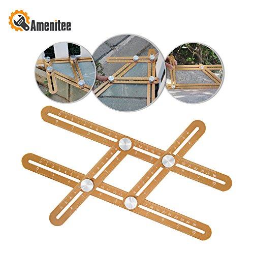 Amenitee Universal Angularizer Ruler - Full Metal Multi Angle Measuring Tool-Ultimate Angleizer Template Tool-Upgraded Aluminum Alloy Multi Functional RulerCHAMPAGNE GOLD
