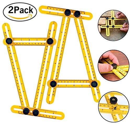 Angle-Izer Template Tool Aonesy 2 Pack Multi Angle Measuring RulerGeneral Measurement Tool Best for Craftsmen Handymen Builders Carpenter DIY