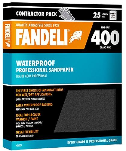 Fandeli 36001 400 Grit Waterproof Sandpaper Sheets 9  x 11 25-Sheet