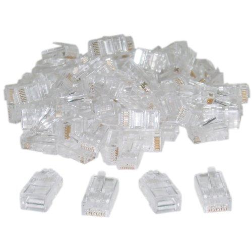 Aurum Cables Connector Plug Network RJ45 CAT 5 CAT6 8P8C Crimp Connector solid Crystal 500 Pcs Per Bag