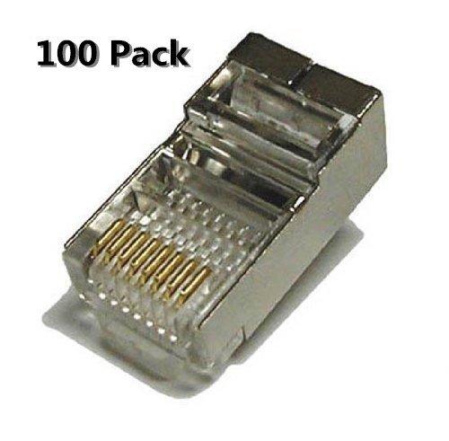 Inovat 100 Pack Metal Shielded RJ45 CAT5E CAT6 Crimp Connector RJ-45 8P8C Ethernet Network CAT5E CAT Modular Network Cable Plug Connector
