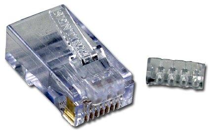 QVS 100pcs CAT6 RJ45 50u Crimp Connectors with Wire-Loading Guide