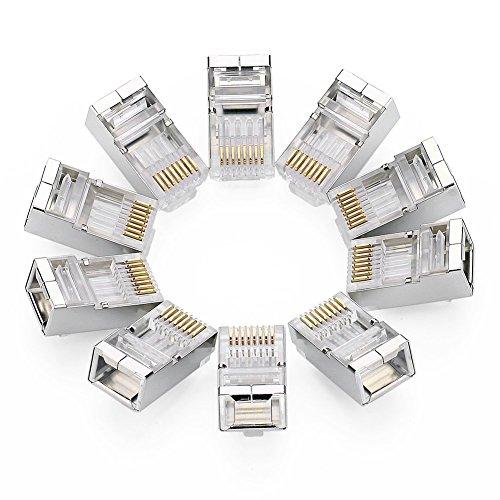 UGREEN RJ45 Connector Cat6 Crimp Connector 10 Pack Cat5E Cat5 Ethernet Network Cable Plug Modular Crystal 8P8C