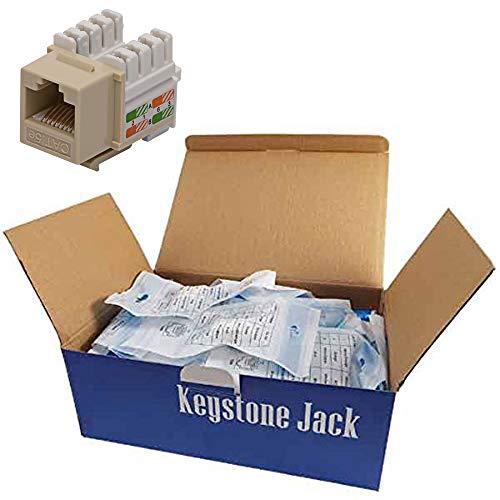CNAweb Cat5e RJ45 Modular Keystone Jack 110 Style Ivory - Box of 50