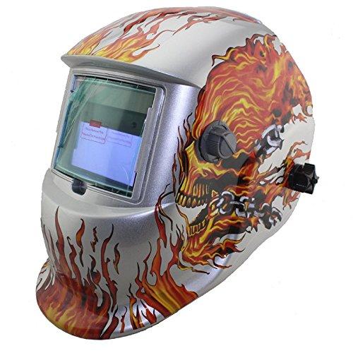 NEW Skull Solar auto darkening MMA TIG MIG ARC welding mask welder cap helmets face mask White