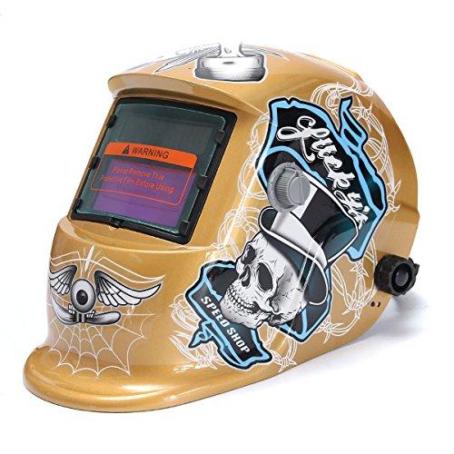 Shiny Gold Solar Auto Darkening Welding Grinding Helmet MIG ARC TIG Welder Lens Mask