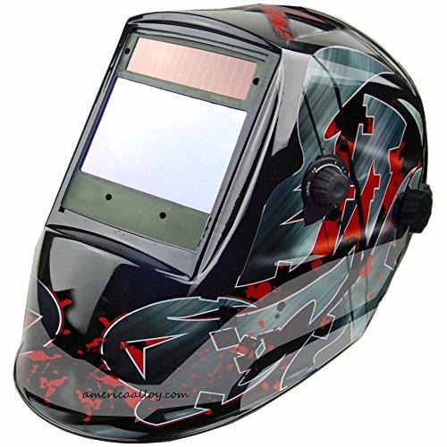 Auto Darkening Welding Helmet 4x37 SUPER VIEW Solar Power 4 premium censors welding hood for Tig Mig Arc welding and Grinding