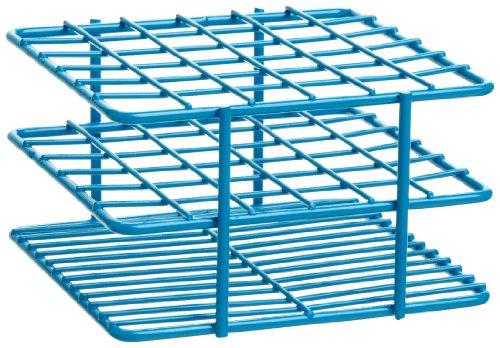 "Bel-Art F18788-1301 Poxygrid ""Half-Size"" Test Tube Rack 10-13mm 36 Places 4⁷₁₆ x 4³₁₆ x 2¹₂ in Blue"
