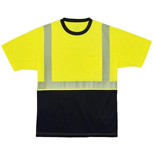 High Visibility Safety T-Shirt ANSI Class 2  Reflective Comfort Trim Black Bottom Lime Large Ergodyne GloWear 8280BK