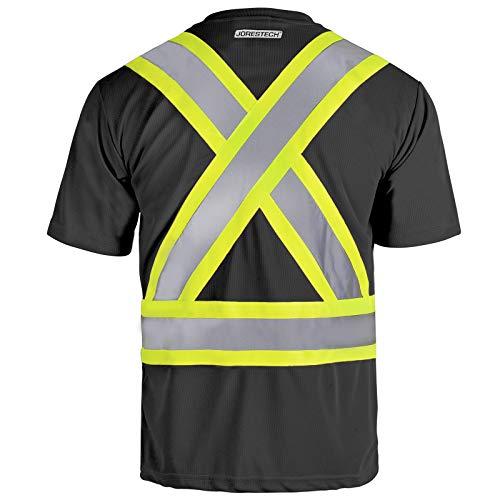 JORESTECH Safety T Shirt Reflective X in Back High Visibility Short Sleeve Black ANSI Class 1 Type O CSA Class 1 Level 2 TS-14 M
