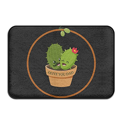 Cactus Olive You Dad Father Gift Non-slip Coral Velvet And Memory Foam Bath Mats