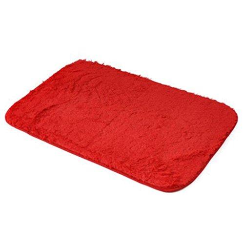 Memory Foam Shag Bath Mat Makaor Luxurious Absorbent Soft Bathroom Shower Rug Floor Non Slip Mat Red Size 40cmx 60cm158x236