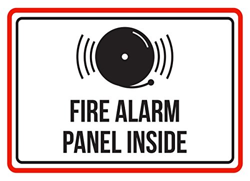 iCandy Products Inc Fire Alarm Panel Inside Red Black White Business Commercial Safety Warning Small Sign Metal 75x105 Inch