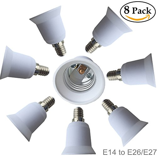 Eleidgs 8 PCS Bulb Holder E14 to E27 Adapter Converter - E14 Light Socket to E26 Light Bulb Base Socket