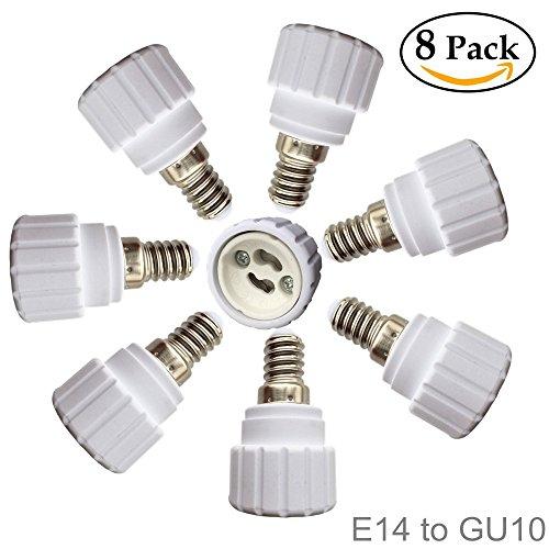 Eleidgs 8 PCS Bulb Holder E14 to GU10 Adapter Converter - E14 Light Socket to GU10 Light Bulb Base Socket Fits LEDCFL Light Bulbs Heat-resistant Anti-burning No Fire Hazard