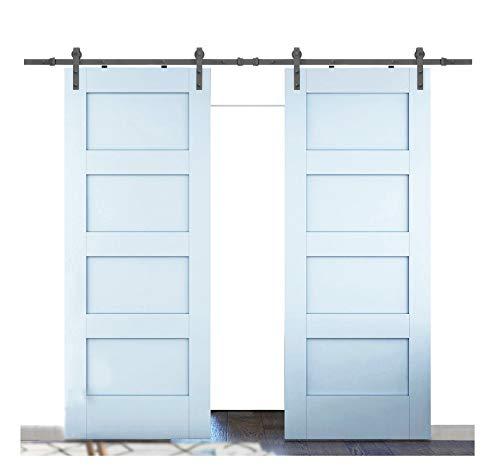 DIYHD MM20D 11FT Double Barn Hardware Bent Straight Roller Interior Wood Closet Door Sliding Track Wall Mount kit